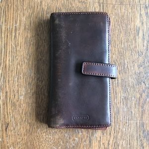 Coach Snap Closure Credit Card Money Holder Brown